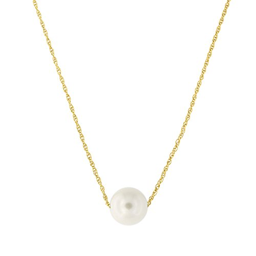 14k Yellow Gold Rope Chain 7mm White Freshwater Cultured Pearl Necklace