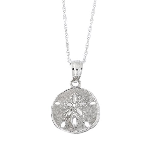 Beauniq 14k White Gold Small Sand Dollar Pendant Necklace