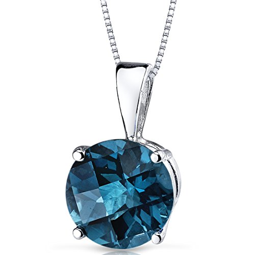 14 Karat White Gold Round Cut 2.50 Carats London Blue Topaz