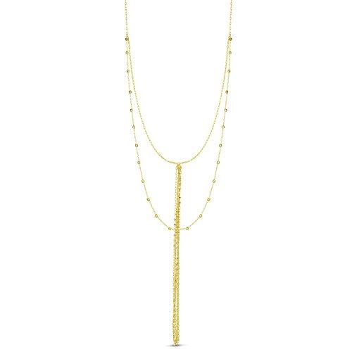 14k Yellow Gold Double Layer Diamond Cut Beads Tassel Lariat Necklace