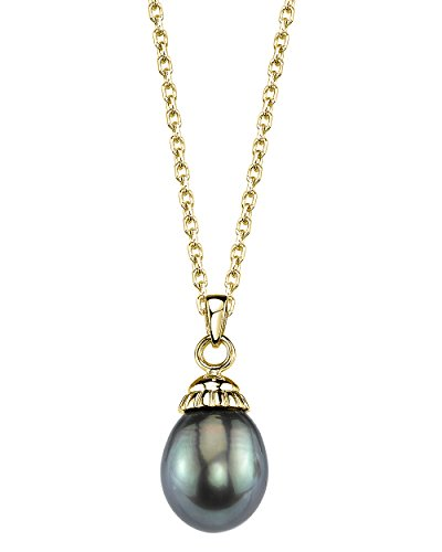 THE PEARL SOURCE 14K Gold 10-11mm Drop-Shape Black