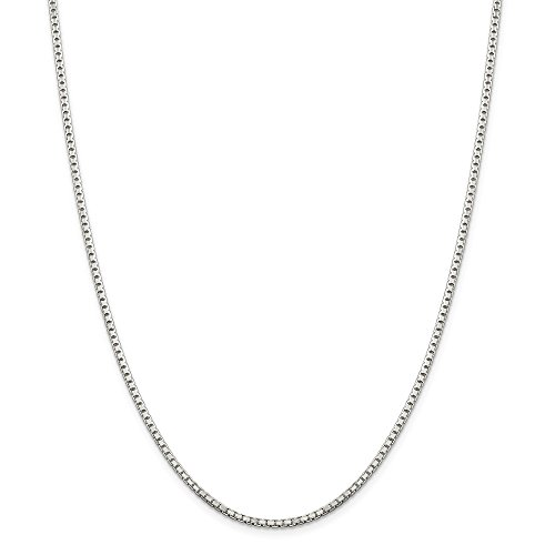 Sterling Silver 2mm Link Box Chain Necklace 30 Inch Pendant Charm