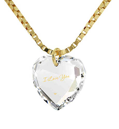 Nano Jewelry Tiny Heart Pendant I Love You Necklace 24k Gold