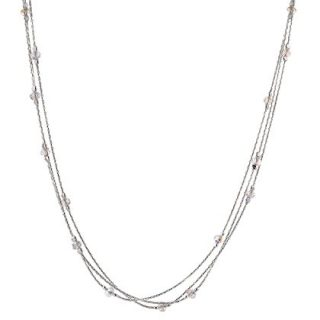 Triple Strand Sterling Silver Necklace Made with Original Swarovski Crystals