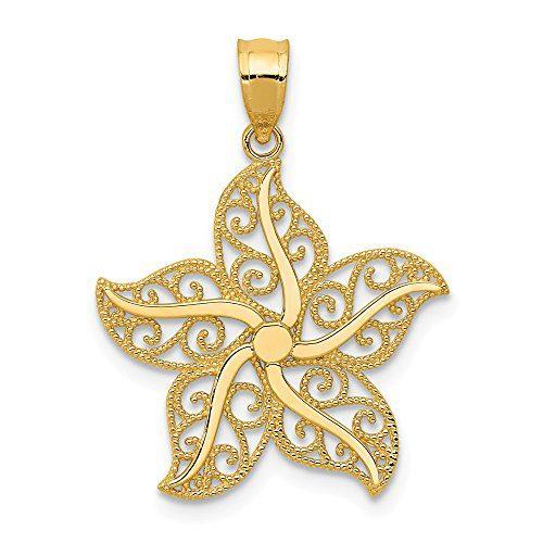 14k Yellow Gold Filigree Starfish Pendant Charm Necklace Sea