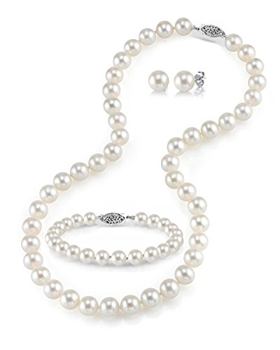 THE PEARL SOURCE 14K Gold 7-8mm Round White Freshwater