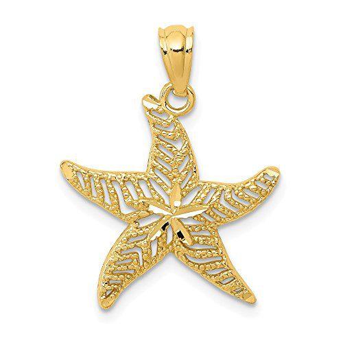 14k Yellow Gold Filigree Starfish Pendant Charm Necklace