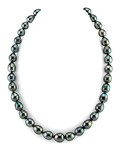 THE PEARL SOURCE 14K Gold 8-10mm Baroque Genuine Black