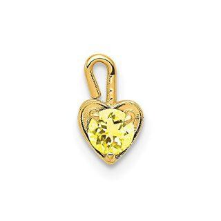 14k Yellow Gold November Synthetic Birthstone Heart Pendant