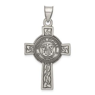 Sterling Silver Us Navy Cross Religious Pendant Charm Necklace