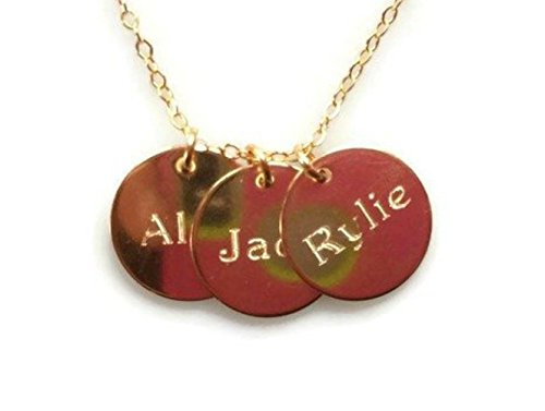 EFYTAL Three Name Necklace On Disc, Personalized