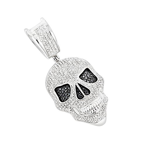 10K Gold White and Black Diamond Iced Out Skull Pendant