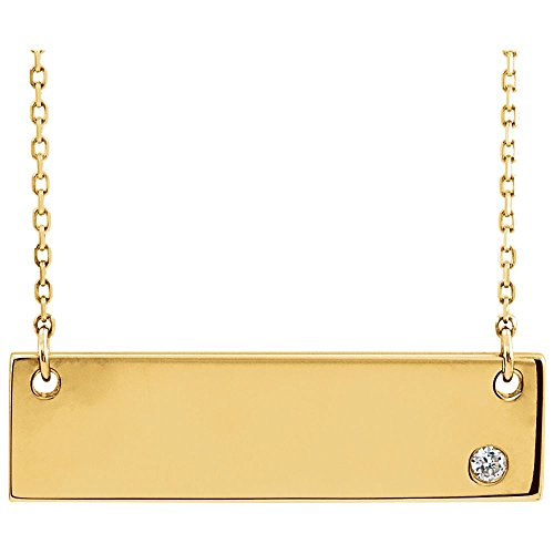 "Jewels By Lux 14K Yellow Gold .03 CT Diamond Bar 18"" Necklace"