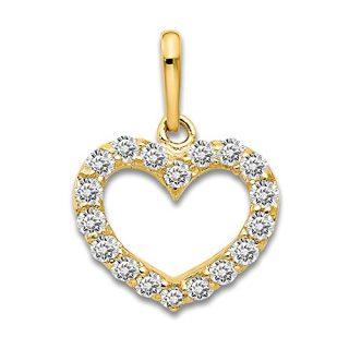 14k Yellow Gold Cubic Zirconia Cz Childrens Heart Pendant Charm Necklace