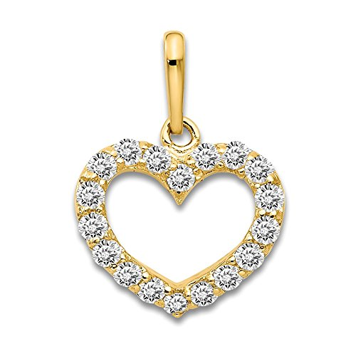 14k Yellow Gold Cubic Zirconia Cz Childrens Heart Pendant Charm Necklace