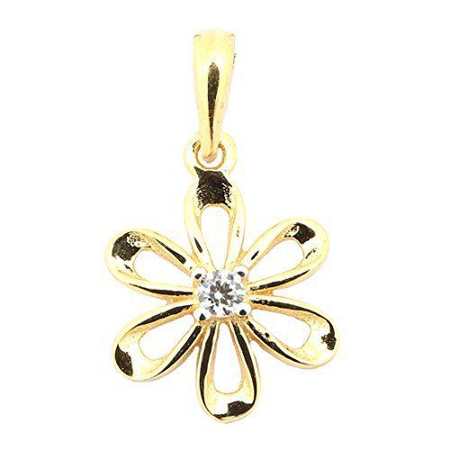 Beauniq 14k Yellow Gold Cubic Zirconia Flower Pendant Necklace
