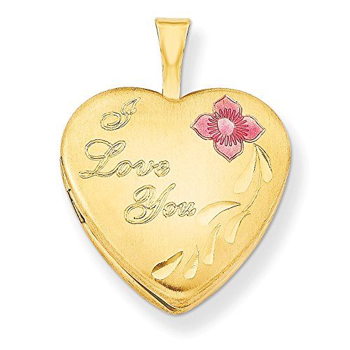 1/20 Gold Filled 16mm Enameled Flower I Love You Heart