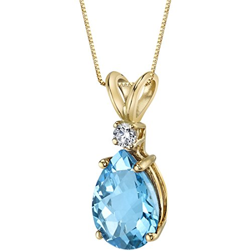 14 Karat Yellow Gold Pear Shape 2.25 Carats Swiss Blue Topaz