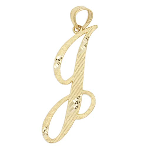 Ice on Fire Jewelry 14k Solid Real Gold Cursive Initial Pendant
