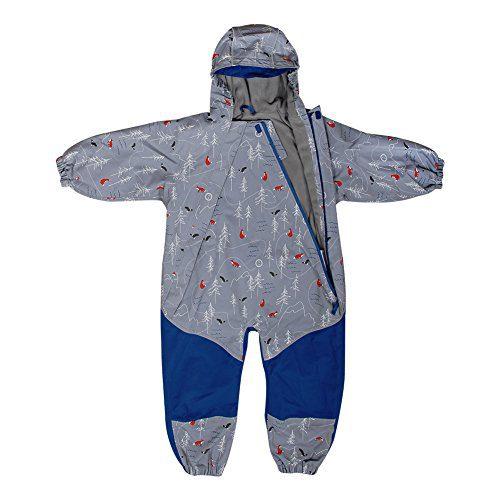 JAN & JUL Kids Water-Proof Fleece-Lined Rain Suit One-Piece Hooded