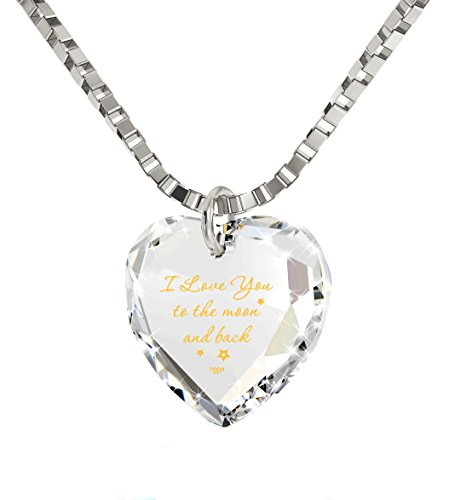 Nano Jewelry I Love You to The Moon and Back Tiny Crystal Heart Necklace