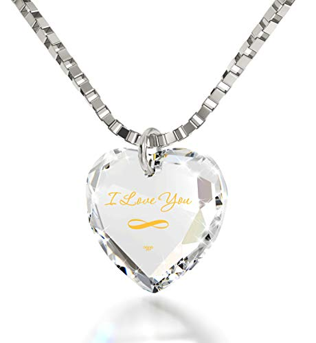 Nano Jewelry Infinity I Love You Necklace 24k Gold Inscribed