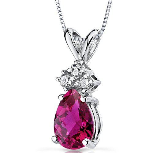 14 Karat White Gold Pear Shape 1.00 Carats Created Ruby