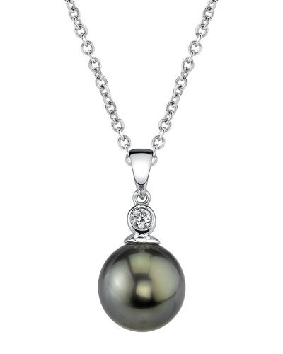 THE PEARL SOURCE 14k Gold 9-10mm Round Black Tahitian South Sea