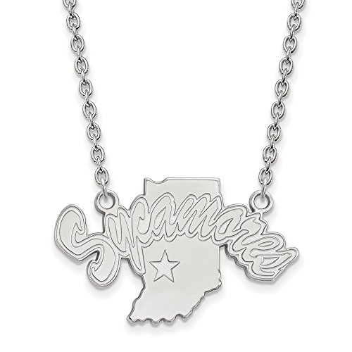 SS Rh-p LogoArt Indiana State University Large Pendant w/Necklace