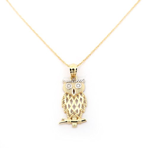 Beauniq 14k Yellow Gold Diamond Cut Open Owl Pendant Necklace