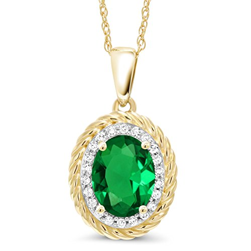 Gem Stone King 1.15 Ct Oval Green Simulated Emerald White Diamond