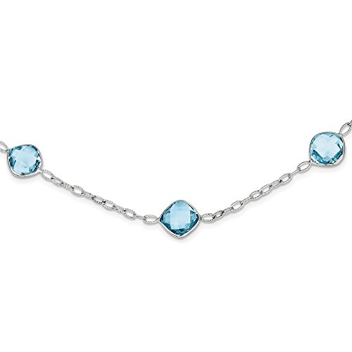 Sterling Silver 18in. Blue Topaz Chain Necklace Pendant Charm