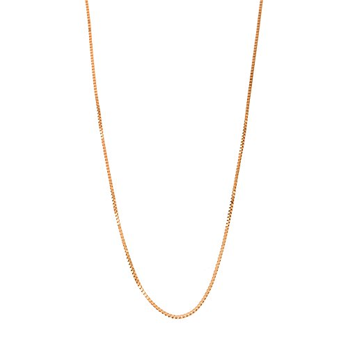 10k Rose Gold Italian 0.50mm Box Chain Necklace