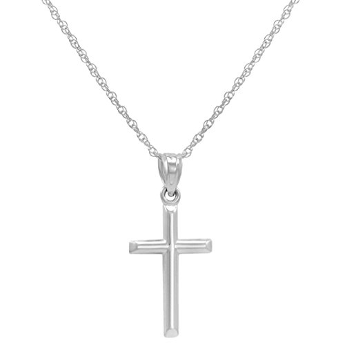 14k White Gold Cross Pendant Necklace