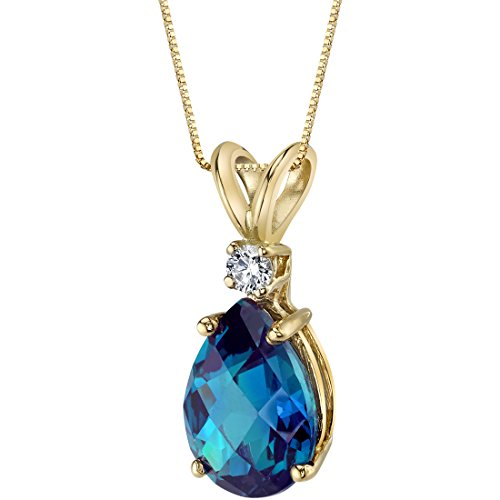 14 Karat Yellow Gold Pear Shape 2.50 Carats Created Alexandrite