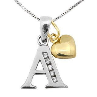 14k White Gold Cubic Zirconia Initial Pendant with Yellow Gold Heart