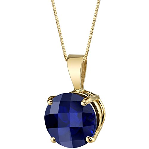 14 Karat Yellow Gold Round Cut 2.50 Carats Created Blue Sapphire