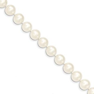 14k Yellow Gold 10mm White Near Round Freshwater Cultured Pearl Bracelet