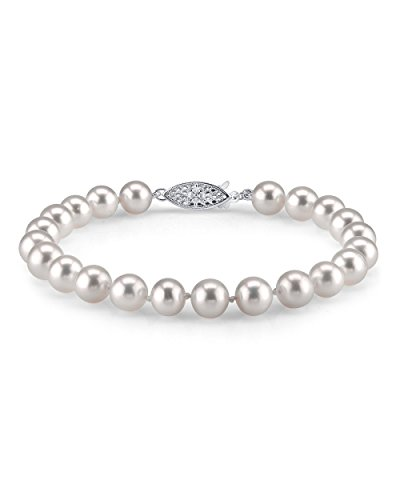 THE PEARL SOURCE Sterling Silver 7-8mm AAA Quality Round White Freshwater