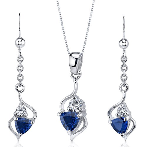 Created Sapphire Pendant Earrings Necklace Set Sterling Silver