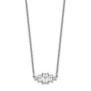 Cheryl M Sterling Silver Brilliant-cut & Emerald-cut CZ Bar Necklace