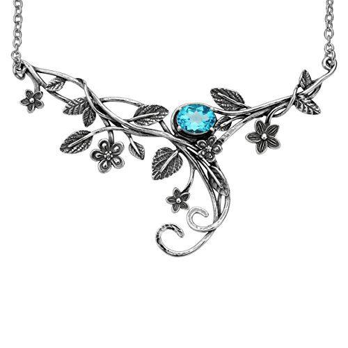PZ Paz Creations Sterling Silver Floral Swirl Gemstone Statement Necklace