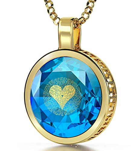 Nano Jewelry Gold Plated I Love You Necklace 24k Gold Inscribed in 120 Languages