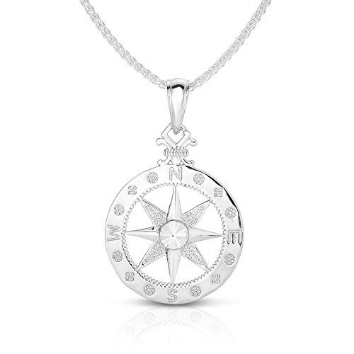 Unique Royal Jewelry Solid Sterling Silver Large Compass Rose Pendant