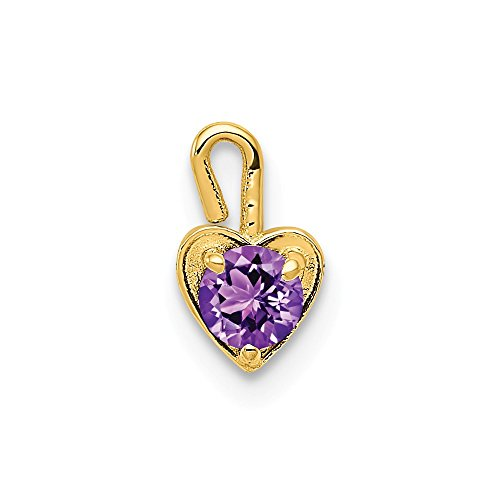 14k Yellow Gold February Synthetic Birthstone Heart Pendant