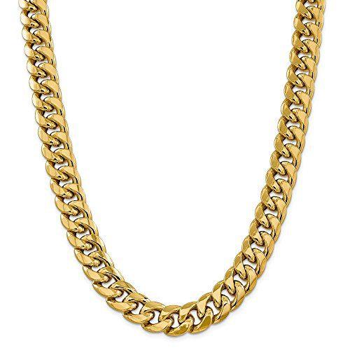 14K Yellow Gold 15mm Semi-Solid Miami Cuban Chain