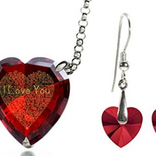 Silver I Love You Necklace 120 Languages Inscribed Red Heart CZ