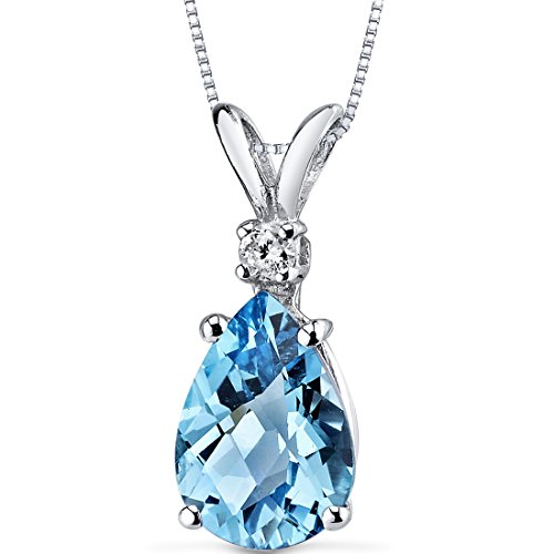 14 Karat White Gold Pear Shape 2.25 Carats Swiss Blue Topaz