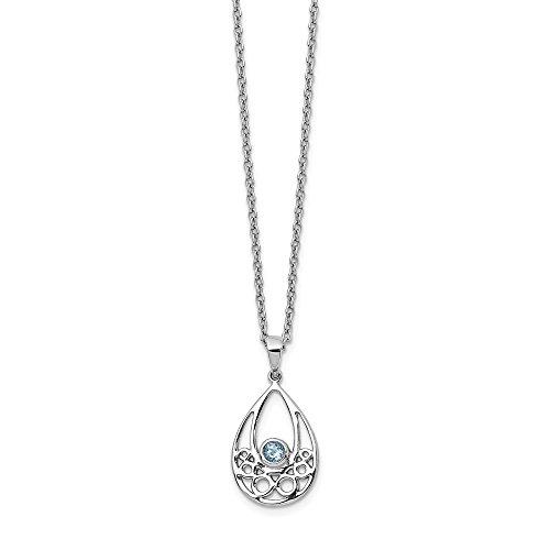 Sterling Silver Blue Topaz Chain Necklace Pendant Charm Fancy