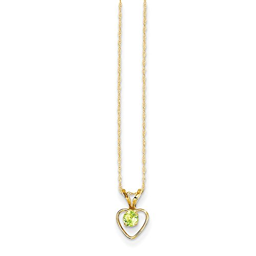 14k Yellow Gold 3mm Green Peridot Heart Birthstone Chain Necklace